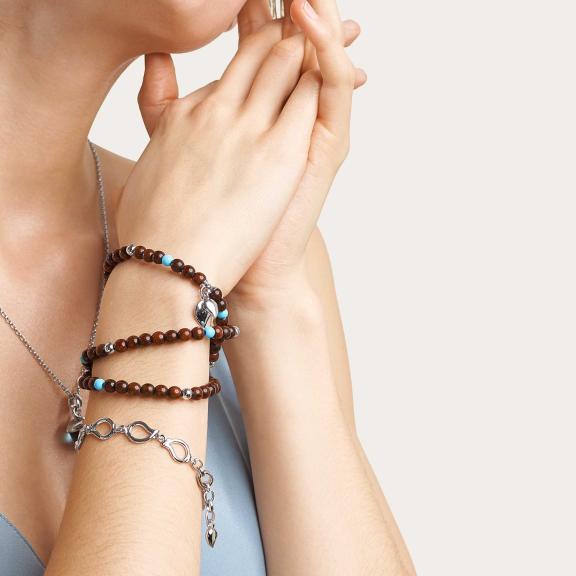 Tamara Comolli-INDIA Armband Snake Wood Türkis-B-IND-SWTur-3-m-rg-2